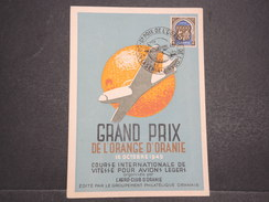 ALGERIE FRANçAISE - Carte Commémorant Le Grand Prix De L'orange D'Oranie - Course Pour Avions Legers - Oct 1949 - P22128 - Algérie (1924-1962)