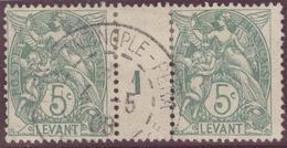 Franz. Kolonien Levante 1908-05-04 Constantinopel Mi#12+ZS+12 Bogennummer 1 Gestempelt Zwischensteg - Oblitérés