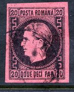 ROMANIA 1866 Prince Carol I  20 Para Thick Paper,  Used.  Michel 16x - 1858-1880 Moldavia & Principality