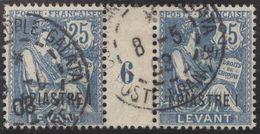 Franz. Kolonien Levante 1908-06-08 Constantinopel Mi#16+ZS+16 Bogennummer 6 Gestempelt Zwischensteg - Oblitérés