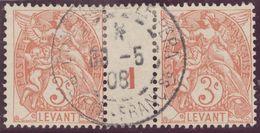 Franz. Kolonien Levante 1908-05-03 Constantinopel Mi#10+ZS+10 Bogennummer 1 Gestempelt Zwischensteg - Oblitérés