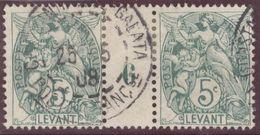 Franz. Kolonien Levante 1908-05-25 Constantinopel Mi#12+ZS+12 Bogennummer 6 Gestempelt Zwischensteg - Oblitérés