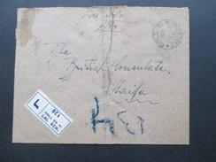 Israel / Judaika 1949 R-Brief Von Tel-Aviv - Haifa And Das British Consultate Haifa. Mehrere Stempel!! Blaustift - Israel
