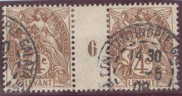 Franz. Kolonien Levante 1908-05-01 Constantinopel Mi#1+ZS+11 Bogennummer 6 Gestempelt Zwischensteg - Oblitérés