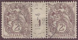 Franz. Kolonien Levante 1908-04-18 Constantinopel Mi#9+ZS+9 Bogennummer 1 Gestempelt Zwischensteg Eckzahn Kurz - Oblitérés