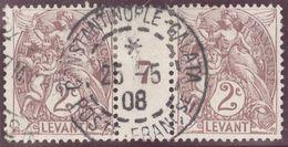 Franz. Kolonien Levante 1908-05-25 Constantinopel Mi#9+ZS+9 Bogennummer 7 Gestempelt Zwischensteg - Oblitérés