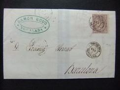 ESPAÑA ESPAGNE Carta Circulada 3/2/1869 De Igualada A Barcelona Edifil N 98 - 1868-70 Gobierno Provisional