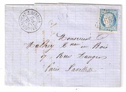 Lettre  GIRECOURT Sur DURBION,Vosges Cachet Facteur J = Ste Sainte Hélène GC 1655 S CERES N° 37, 28 Juillet 1871 > Paris - Marcophilie (Lettres)