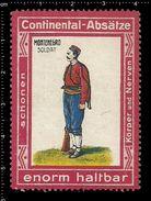 German Poster Stamps, Reklamemarke, Continental Heels, Absätze, Montenegro Soldat, Soldier, Balkan - Militaria