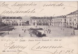 CUNEO - PIAZZA VITTORIO EMANUELE II LATO EST  VG   AUTENTICA 100% - Cuneo