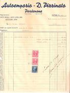 FATTURA Marca Da Bollo AUTOEMPORIO D. PIZZINATO PORDENONE - Moto Benelli 1940 - Italy