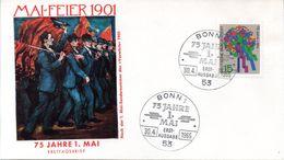 """BRD Schmuck-FDC """"75 Jahre Tag Der Arbeit"""",  Mi.475 ESST BONN 1 30.4.1965 - [7] Repubblica Federale"""