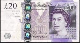 GREAT-BRITAIN ENGLAND P392b 20 POUNDS 2012 Signature Salmon VF Folds - 1952-… : Elizabeth II