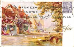 Themes Div -ref U742- Cachets - Cachet Sur Carte Postale - Publicité Tabac -fumez Les Cigarettes Celtiques - - Marcophilie (Lettres)