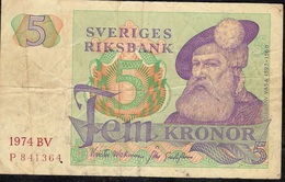 SWEDEN P51c 5 KRONOR 1974 AVF - Sweden