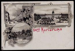 ALTE LITHO ANSICHTKARTE * GRUSS AUS KARLSRUHE * - Schloss - Kaiserstr. - Stadtgarten - Sehr Schön - Nicht Gelaufen - Karlsruhe