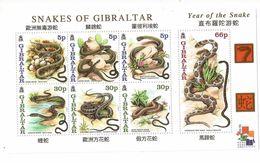 2001 Gibraltar  Year Of The Snake   Complete Souvenir Sheet  MNH - Gibilterra