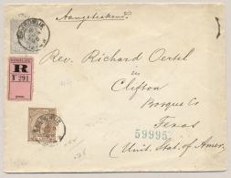 Nederland - 1896 - 12,5 Cent Hangend Haar, Envelop G7, Met Roze R-strook En 7,5 Cent HH Van KR Baardwijk Naar Texas / US - Entiers Postaux