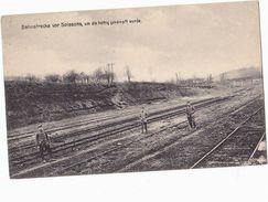 Soissons FRANCE, GERMAN SOLDIERS On RAILWAY TRACK Postcard, WWI,  Train - War 1914-18