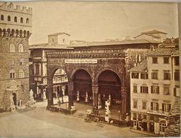 Belissima Foto FIRENZE C.1870  24 X 32 Cm. Piazza Della Signoria Loggia. Albuminata. S. BICCI. Florence, Italie. - Antiche (ante 1900)