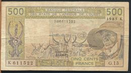 °°° AFRICA OCCIDENTALE OVEST - 500 FRANCS 1985 °°° - Stati Dell'Africa Occidentale