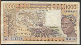 °°° AFRICA OCCIDENTALE OVEST - 1000 FRANCS 1986 °°° - États D'Afrique De L'Ouest