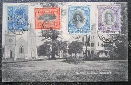 Tonga Nukualofa Palace Chapel Cpa Entier Postal Timbrées Toga Obliterations - Tonga