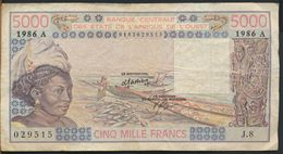 °°° AFRICA OCCIDENTALE OVEST - 5000 FRANCS 1986 °°° - Stati Dell'Africa Occidentale