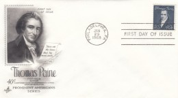 Sc#1292 Thomas Paine 40-cent 1968 Regular Issue FDC First Day Of Issue Cover - First Day Covers (FDCs)