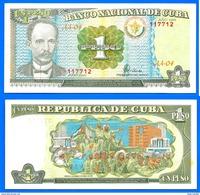 Cuba 1 Peso 1995 NEUF UNC Que Prix + Port Jose Marti Caraibe Billet Peso Centavos Bitcoin Skrill OK - Cuba