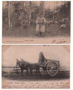 """40 - """" BERGER LANDAIS """" & """" ATTELAGE DE MULES """" . 2 CARTES POSTALES - Réf. N°5348 - - Francia"""