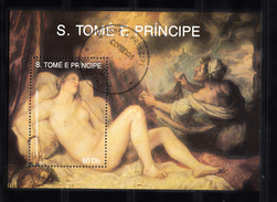 Sao Tome En Principe 1990 Mi Nr Blok 241 ; Kerstmis, Christmas, Gestempeld - Sao Tome En Principe