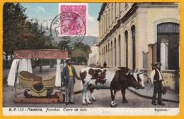 1911 - CP De Funchal, île De Madère, Portugal Vers Paris Via Lisbonne - OMEC - Vue: Char à Boeufs - Madère