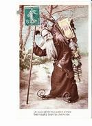 JOYEUX NOËL, Père Noël En Patins Et Sa Hotte, Polichinelle, Violon, Yoko, Ed. ELD 1908 - Noël