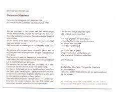 Devotie - Devotion - Germaine Maertens - Bekegem 1906 - Oostende 1990 - Maertens - Dupon - Obituary Notices