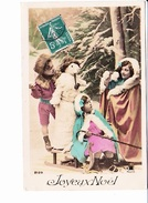 JOYEUX NOËL, Petites Filles Sur Une Luge, Bonhomme De Neige, Canne Et Pipe En Bois, Ed. Photo  1910 Environ - Noël
