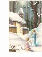 JOYEUX NOËL, Petits Anges Priant Devant Un Eéglise Enneigée, Flûte, Ed. LT 1947 - Noël
