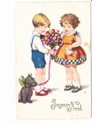 JOYEUX NOËL, Petit Garçon Offrant Des Fleurs à Une Petite Fille, Chien, Ed. LD 1950 Environ - Noël