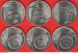 """Philippines Set Of 3 Coins: 1 Piso 2016 """"Ricarte, Costa, Torres"""" UNC - Philippines"""