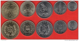 Guatemala Set Of 5 Coins: 5 Centavos - 1 Quetzal 2007-2013 UNC - Guatemala