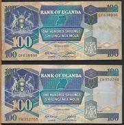 °°° UGANDA - 100 SHILLINGS 1987/1988 °°° - Sudafrica