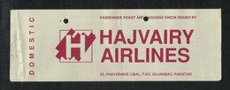 Pakistan Hajvairy Airline Transport Ticket Used Passenger Ticket - Transportation Tickets