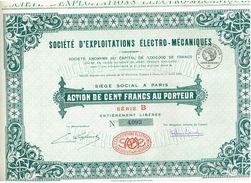 Action Ancienne - Sté D 'Exploitations Electro - Mécaniques - Titre De 1928 - Industrie