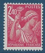 FRANCE - YT N°654 - 2f. 40 Rose Carminé - Type Iris - Neuf** - TTB Etat - 1939-44 Iris