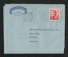 Hong Kong China 1963 Air Mail Postal Used Aerogramme Cover With Stamps HongKong To Pakistan - Hong Kong (1997-...)