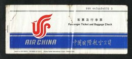 Air China Airline International Passenger Ticket & Baggage Check Ticket  Used  See Next Scan - Transportation Tickets