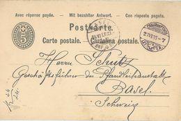 PK 16A  Chaux-de-Fonds - Basel            1886 - Stamped Stationery