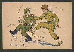 """"""" Soldat Américain Bottant Les Fesses à Soldat Allemand """" / Illustrateur CADORE 1944 - Marcophilie (Lettres)"""