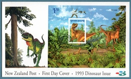 NEW ZEALAND 1993 Prehistoric Animals: Miniature Sheet Official First Day Cover CANCELLED - FDC