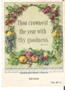 Little Bible Lesson Picture Card Thou Crownest The Year With Thy Goodness. Psa. 65:11 - Devotion Images